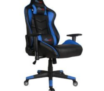 Kinsal Ergonomic Leather High-back Swivel Chair with Headrest and Lumbar Support - Blue