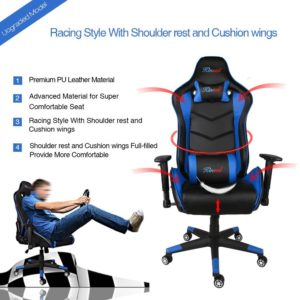 Kinsal PC Gaming Chair Ergonomic Leather High-back Swivel Chair with Headrest and Lumbar Support Racing Style