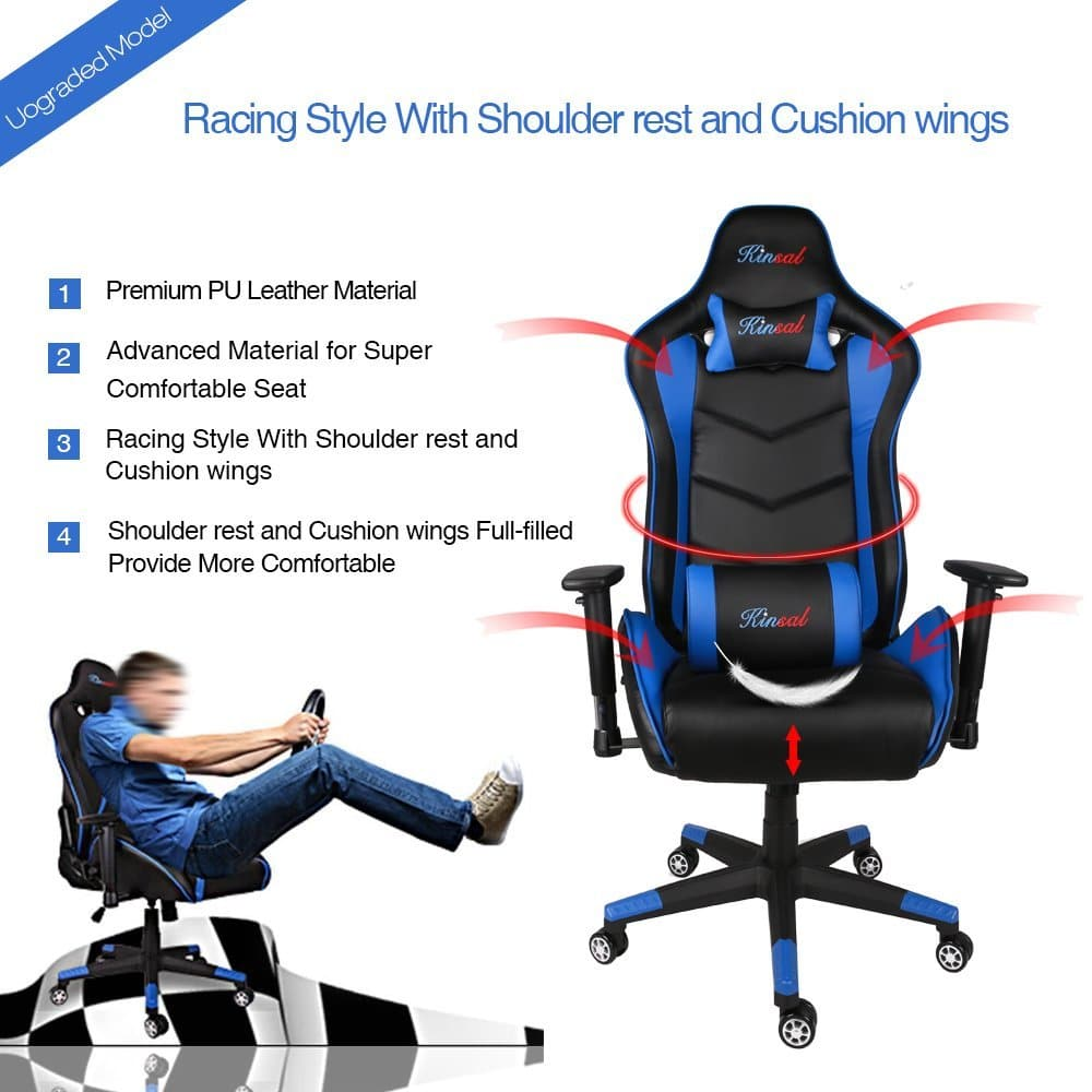 Kinsal Ergonomic Leather High-back Swivel Chair with Headrest and Lumbar Support Racing Style