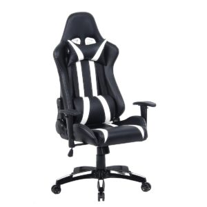 Giantex Executive Racing Style High Back Reclining Chair Gaming Chair Office Computer (Black+White)