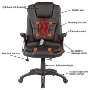 SGS Office Massage Chair Heated Vibrating PU Race Car Style Features