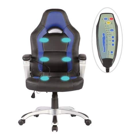 SGS Office Massage Chair Heated Vibrating PU Race Car Style massage points