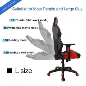 Kinsal Gaming Chair, Large Size Racing Chair, High-back Ergonomic Computer Chair tilt back
